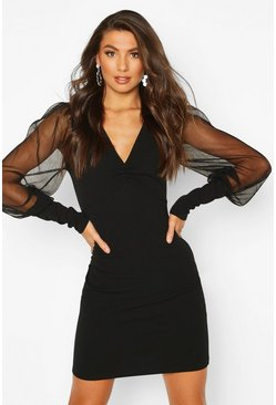 Tall Mesh Sleeve Bodycon Dress, Black