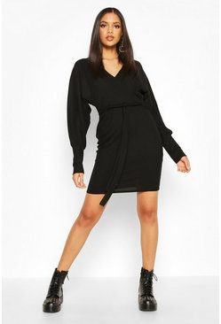 Tall Rib Batwing Wrap Dress, Black, DAMEN