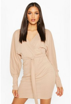 Stone Tall Rib Batwing Wrap Dress