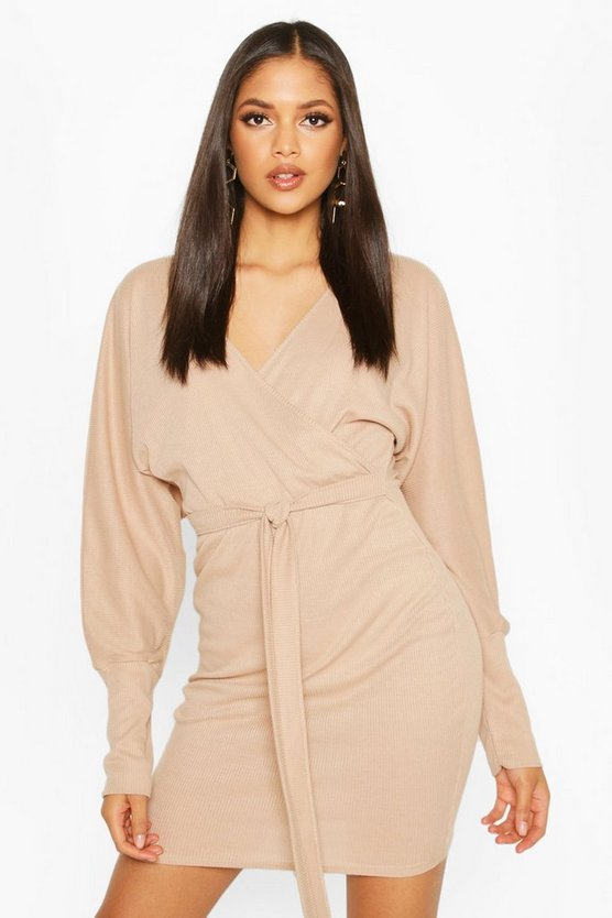 Tall Rib Batwing Wrap Dress