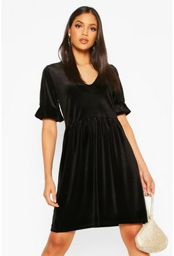 Tall Velvet Plunge Frill Sleeve Smock Dress, Black, FEMMES