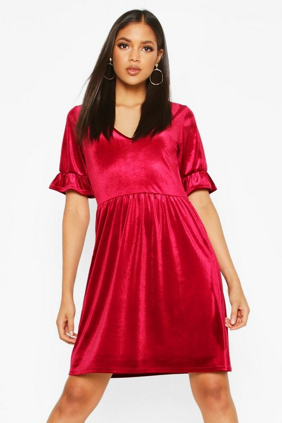 Tall Velvet Plunge Frill Sleeve Smock Dress