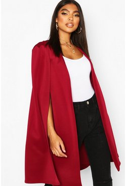 Tall Longline Cape Blazer, Berry