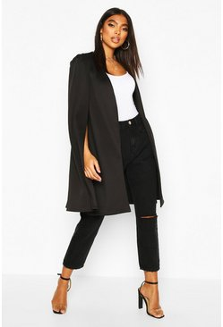 Black Tall Longline Cape Blazer