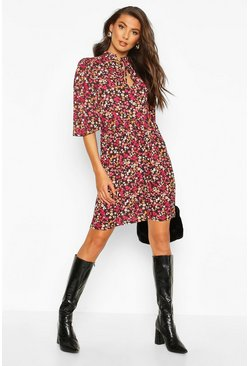 Tall Floral High Neck Smock Dress, Black, FEMMES