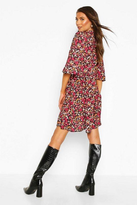 Tall Floral High Neck Smock Dress