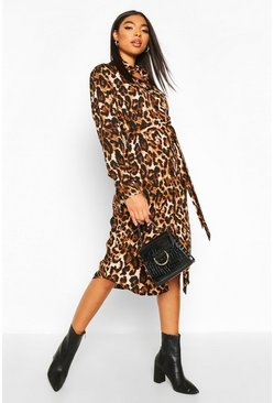 Brown Tall Leopard Midi Shirt Dress