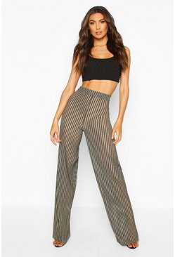 Womens Gold Tall Metallic Stripe Wide Leg Trousers
