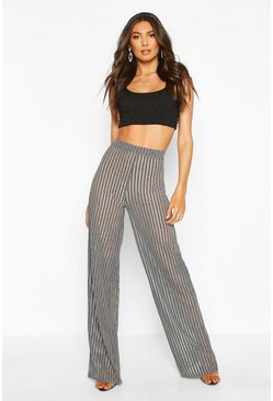 Womens Silver Tall Metallic Stripe Wide Leg Trousers