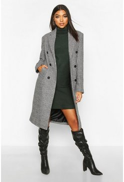 Womens Black Tall Double Breasted Check Coat