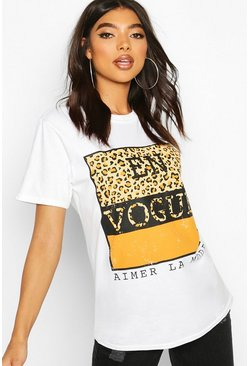 White Tall Leopard Print Slogan T-Shirt
