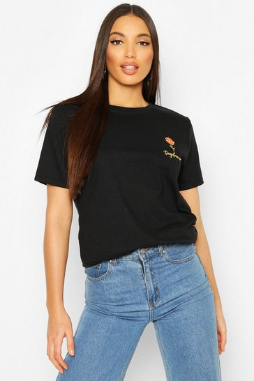 Black Tall Daydreamer Embroidered Pocket Print T-Shirt