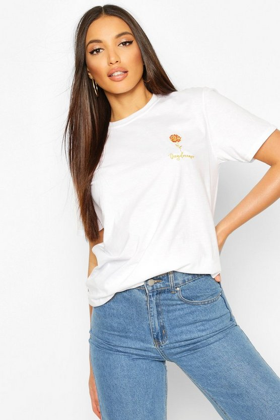 White Tall Daydreamer Embroidered Pocket Print T-Shirt