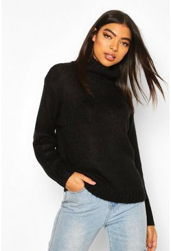 Tall Loose Fit Roll Neck Jumper, Black