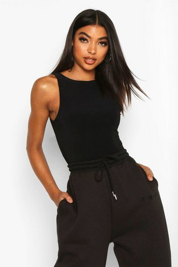 Womens Black Tall Double Layer Slinky Racer Neck Bodysuit