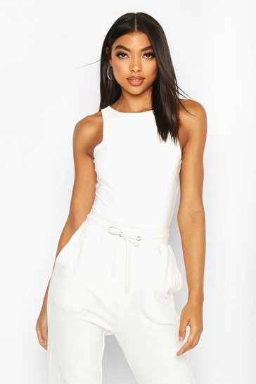 White Tall Double Layer Slinky Racer Neck Bodysuit