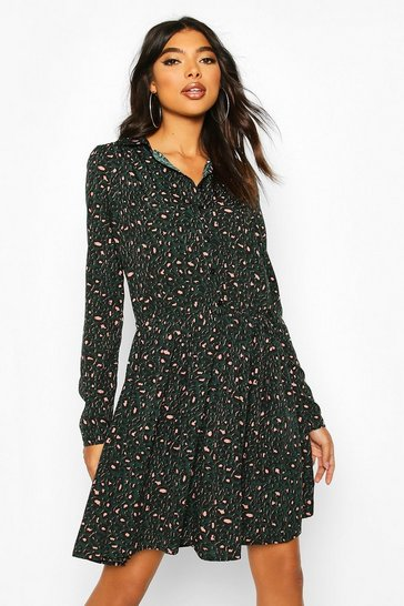 Bottle Tall Leopard Print Shirt Dress