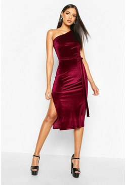 Tall Belted One Shoulder Velvet Midi Dress, Berry, Donna
