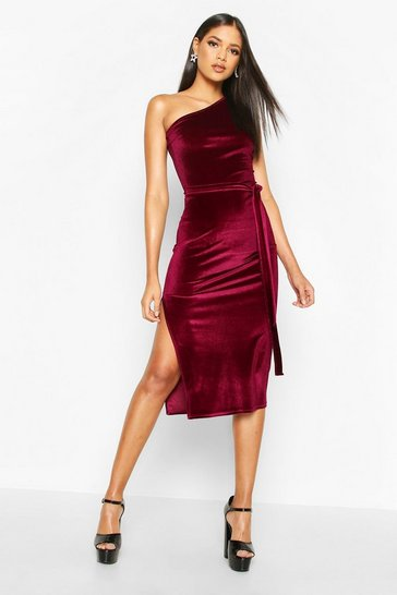 Womens Berry Tall Belted One Shoulder Velvet Midi Dress