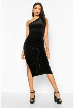 Womens Black Tall Belted One Shoulder Velvet Midi Dress