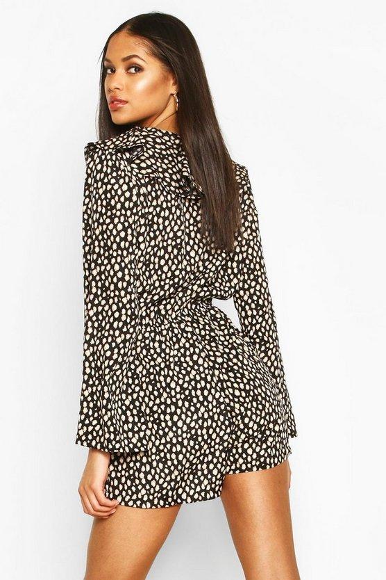 Tall Leopard Print Ruffle Playsuit