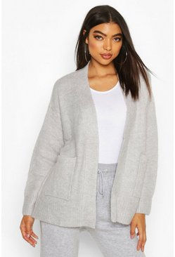 Tall Soft Knit Edge to Edge Cardigan, Grey