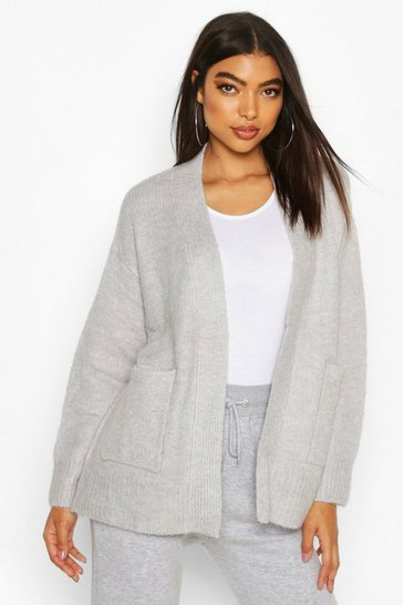 Womens Grey Tall Soft Knit Edge to Edge Cardigan