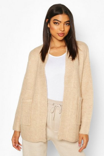Stone Tall Soft Knit Edge to Edge Cardigan