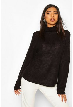 Tall Soft Knit Roll Neck Jumper, Black, Femme