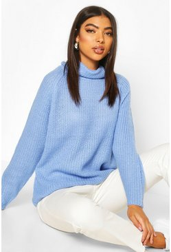 Pastel blue Tall Soft Knit Roll Neck Jumper