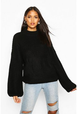 Womens Black Tall High Neck Balloon Sleeve Jumper