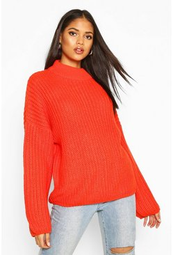Orange Tall High Neck Balloon Sleeve Jumper