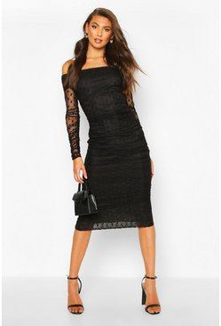 Tall Dobby Mesh Ruched Bardot Midi Dress, Black, DAMEN