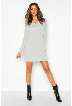 Tall Plunge V-Back T-Shirt Dress, Grey, DAMEN