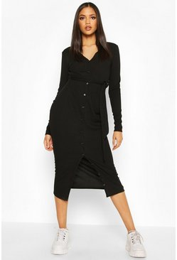 Tall Button Down Rib Midi Dress, Black, DAMEN
