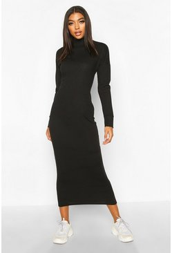 Tall Chunky High Neck Midaxi Dress, Black