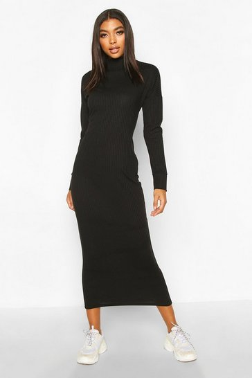 Black Tall Chunky High Neck Midaxi Dress