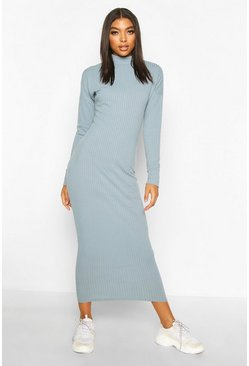 Tall Chunky High Neck Midaxi Dress, Slate blue, DAMEN