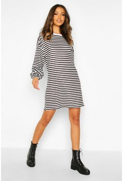 Tall Stripe Balloon Sleeve T-Shirt Dress, Black, FEMMES