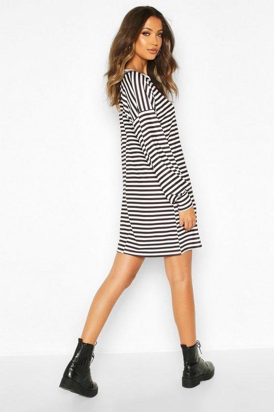 Tall Stripe Balloon Sleeve T-Shirt Dress