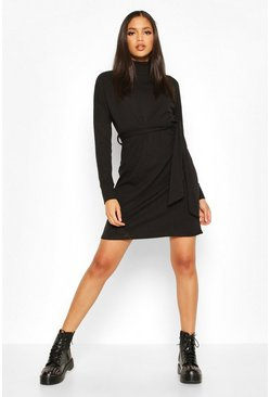 Tall Rib High Neck Belted Shift Dress, Black, FEMMES