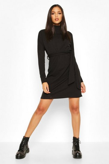 Black Tall Rib High Neck Belted Shift Dress
