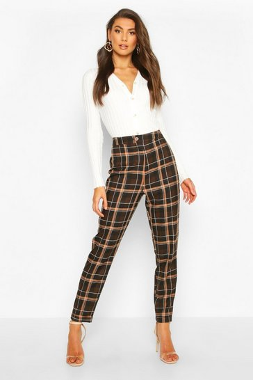 Chocolate Tall Check Woven Trousers