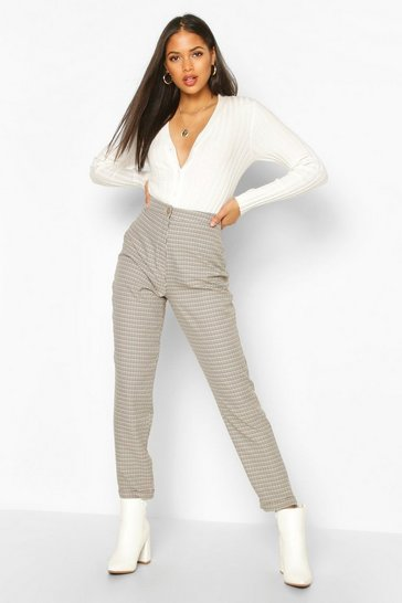 Womens Brown Tall Check Woven Trousers
