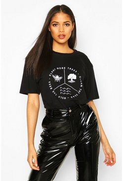 Womens Black Tall 'Climate Change' Slogan T-Shirt