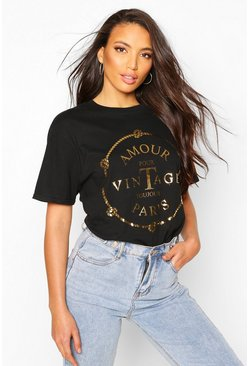 Womens Black Tall Gold Foil 'Amour' French Slogan T-Shirt