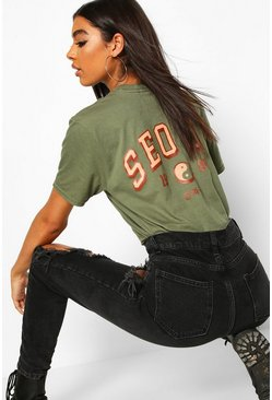 Womens Khaki Tall 'Seoul' Back Print Slogan T-Shirt