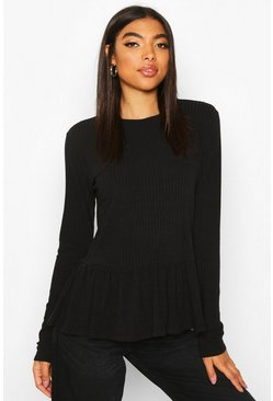 Womens Black Tall Soft Rib Smock Top