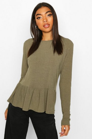 Khaki Tall Soft Rib Smock Top