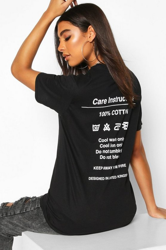 Black Tall 'Instruction' Slogan T-Shirt